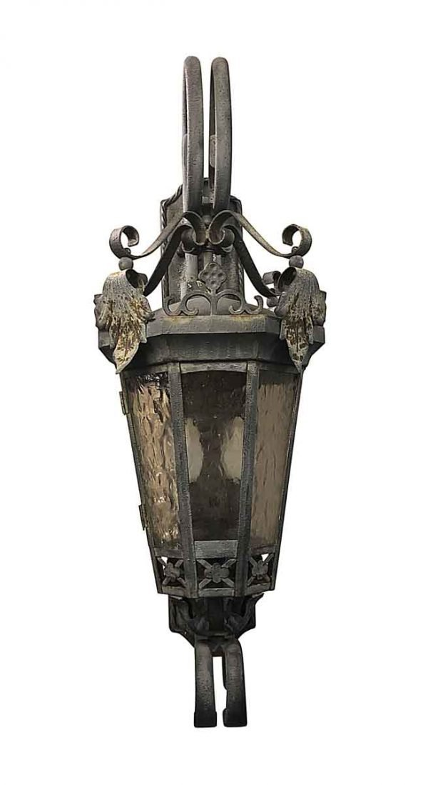 Exterior Lighting - Oversized Exterior 44 in. Iron Sconce with Foliage Detail