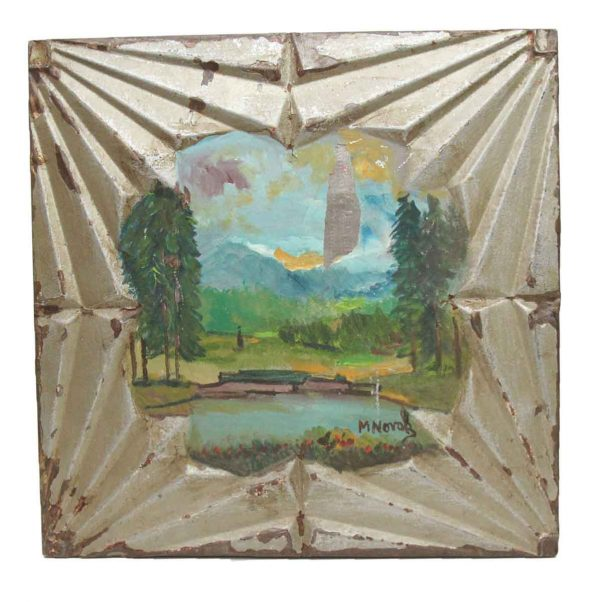 Hand Painted Panels - Hand Painted Novak Tin Panel with Lake Scene
