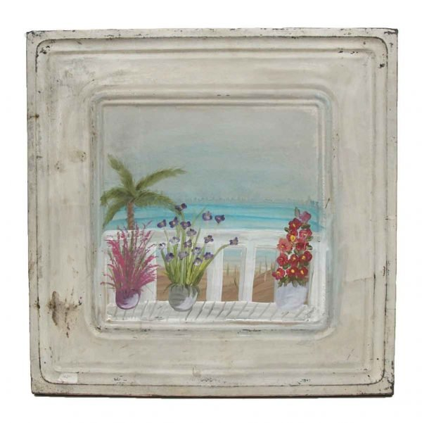 Hand Painted Panels - Hand Painted Vintage Tin Panel with Beach Scene