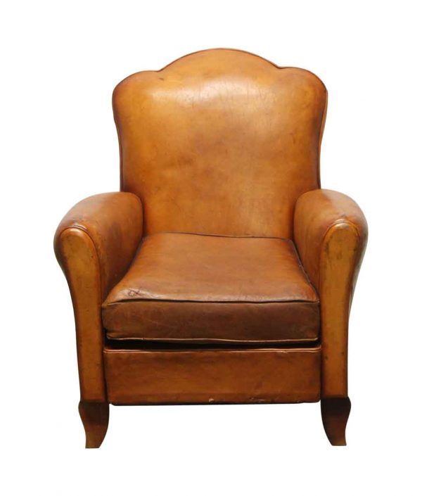 Living Room - Vintage French Brown Leather Club Chair