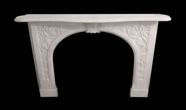Mantels - Carved White Grapevine Motif Marble Mantel