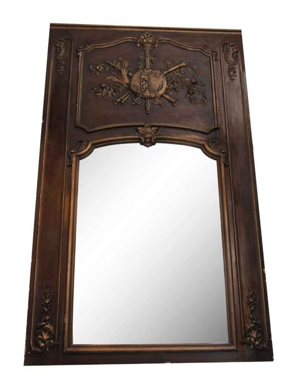Overmantels & Mirrors - Salvaged Waldorf Wood Framed Mantel Mirror