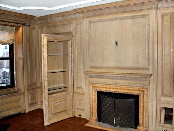 Paneled Rooms & Wainscoting - 10 ft High Carved Oak Paneled Room with Carved Crown Molding