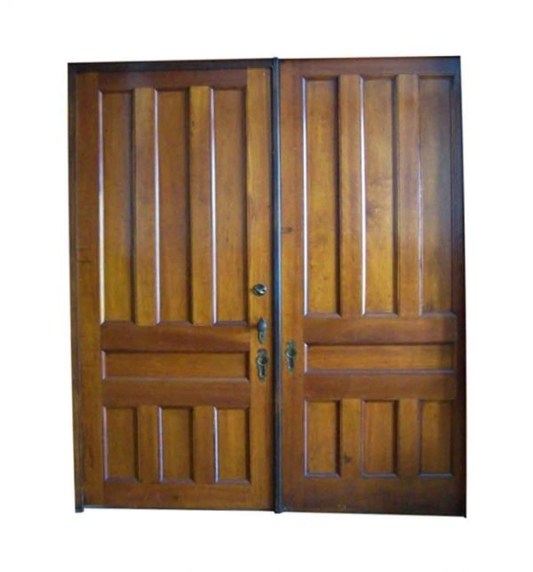 Pocket Doors - Antique 7 Panel Cherry Pocket Double Doors 94 x 84