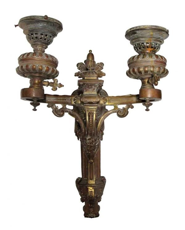 Sconces & Wall Lighting - Antique Heavy Cast Bronze Figural Sconce