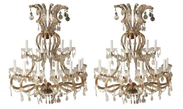 Sconces & Wall Lighting - Huge Marie Therese Crystal Sconces from The Plaza Hotel