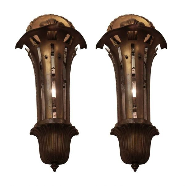 Sconces & Wall Lighting - Pair of Brass Art Deco Sconces from The American Theater NYC