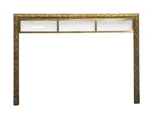 Screens & Covers - Decorative Brass Fireplace Surround Insert with Upper Glass Panels