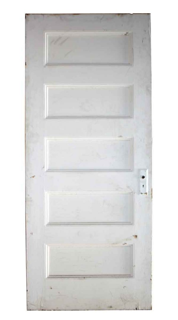 Standard Doors - 5 Panel Painted White Wood Antique Door 79.5 x 32