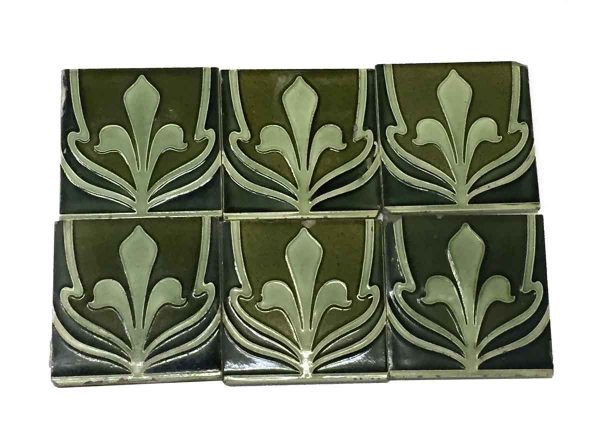 Wall Tiles - Dark & Light Green Fleur De Lis Tile Set