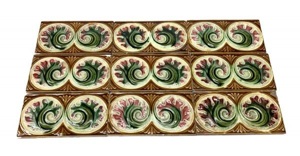Wall Tiles - Light Brown Tile Set with Pink & Green Flowers