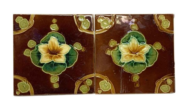 Wall Tiles - Pair of Antique Brown & Yellow Flower Tiles