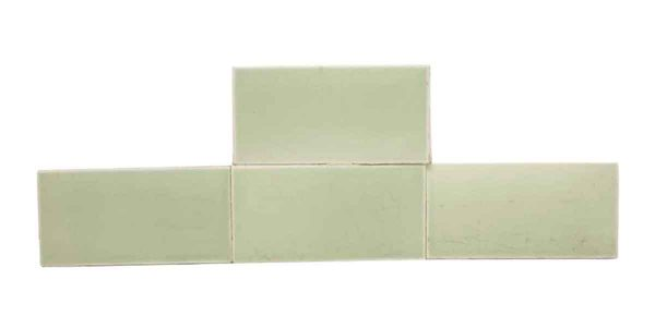 Wall Tiles - Set of Four Mint Green Shiny Crackled 6 x 3 Subway Tiles