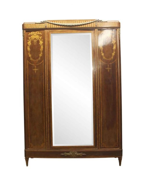 Armoires & Vitrines - Antique French Deco Walnut Mirrored Armoire