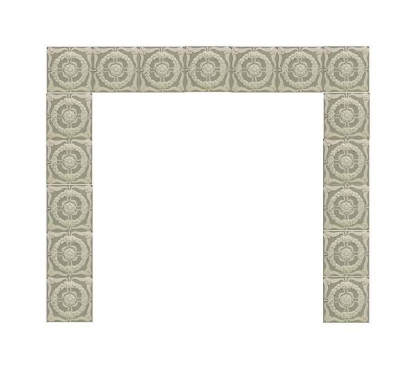 Fireplace Surrounds - Antique Raised Mint Green & White Fireplace Surround