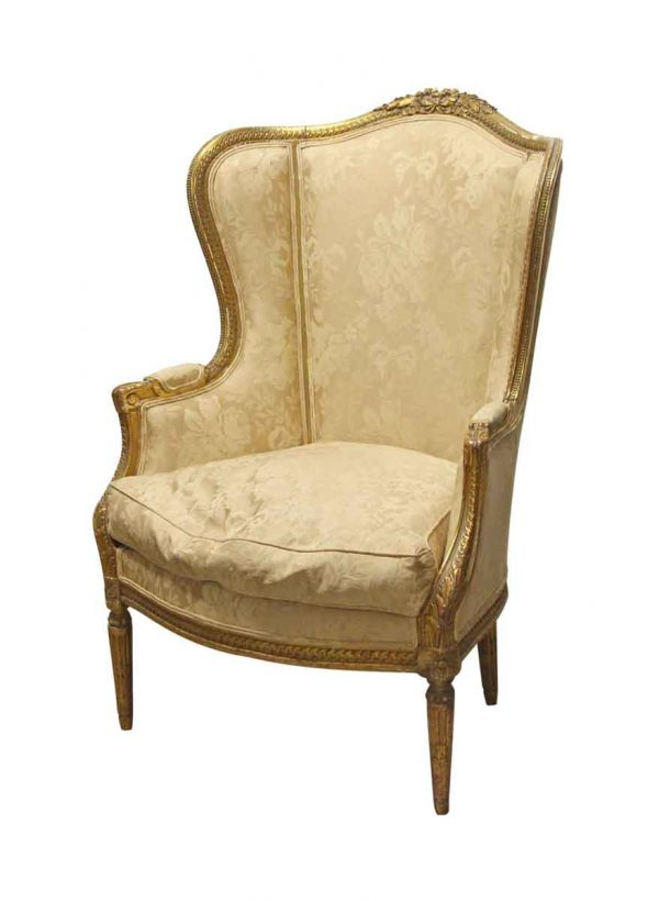 Living Room - 19th Century Carved Wood Frame Wing Back Chair