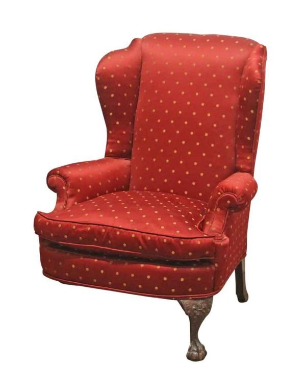 Living Room - Antique Red Upholstered Arm Chair with Carved Wooden Legs