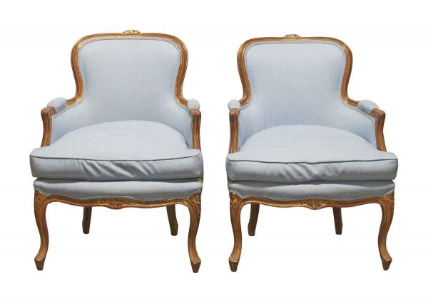 Living Room - Pair of Antique Blue Stuffed Wood Parlor Chairs
