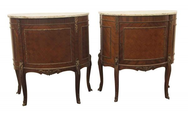 Living Room - Pair of Victorian Marble Top Night Stand Side Tables