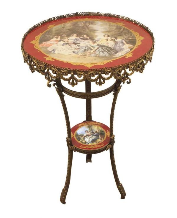 Living Room - Victorian Hand Painted Porcelain & Bronze Side Table
