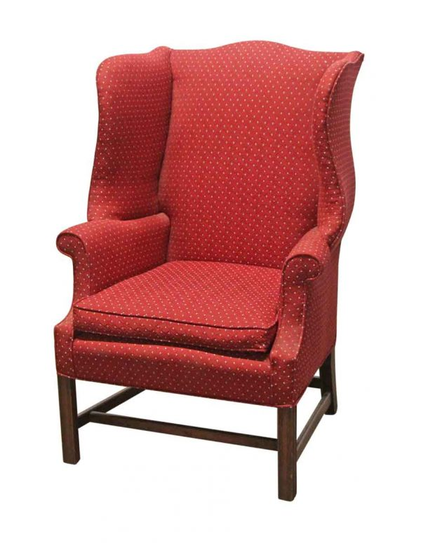 Living Room - Vintage Red Wing Back Stuffed Arm Chair