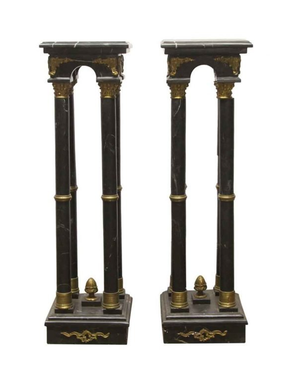 Pedestals - Pair of 4 Foot Black Marble & Brass Column Pedestals
