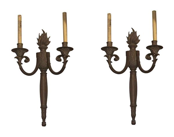 Sconces & Wall Lighting - Pair of Large Bronze French Flame Torche Sconces