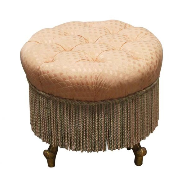 Seating - Victorian Pink Tufted Footstool with Fringe