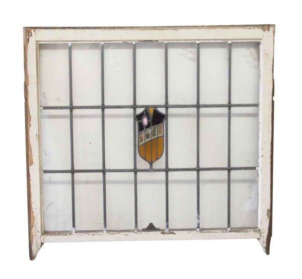 Stained Glass - Antique 34 x 36 Leaded Glass Window with Shield Motif