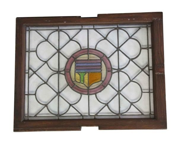 Stained Glass - Antique 35 x 31.625 Stained Glass Shield Window
