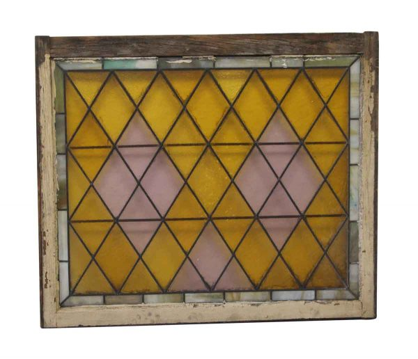 Stained Glass - Antique 36 x 42 Purple & Yellow Stained Glass Window