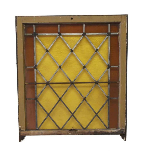 Stained Glass - Antique 37.25 x 32 Amber Stained Glass Window