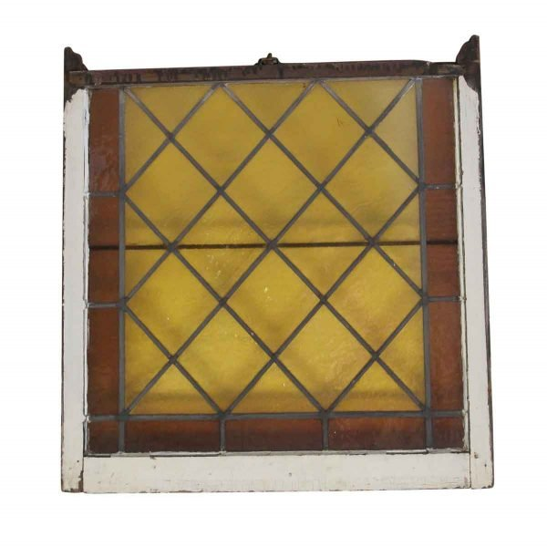 Stained Glass - Antique 38.5 x 36 Amber Stained Glass Window