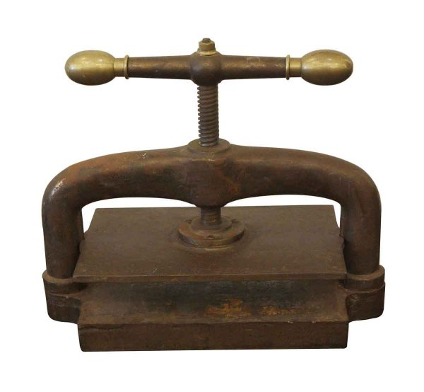 Unusual items - Antique Cast Iron Book Press with Brass Ends