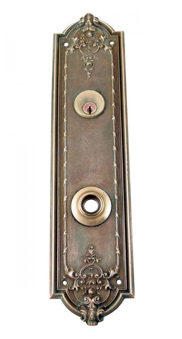 Back Plates - 14 in. French Renaissance Reading Brass Door Back Plate