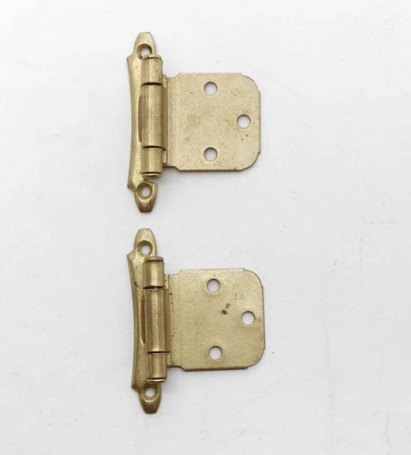Cabinet & Furniture Hinges - Pair of Brass Plated Face Mount 2.25 x 2.75 Cabinet Hinges