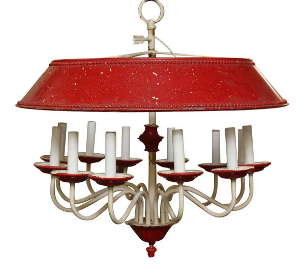 Chandeliers - 12 Light Red Colonial Chandelier with Large Red Shade