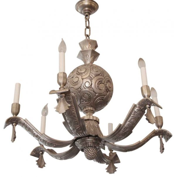 Chandeliers - 1920s 6 Arm Nickeled Bronze Art Deco Chandelier