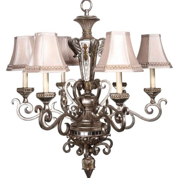 Chandeliers - 1920s Mirrored Nickel Plated 6 Arm Victorian Chandelier