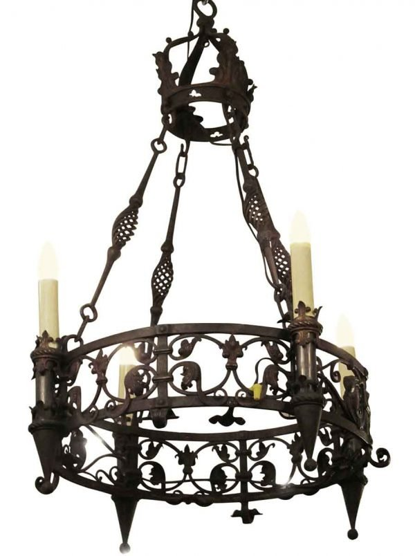 Chandeliers - 1920s Spanish Wrought Iron 4 Light Chandelier