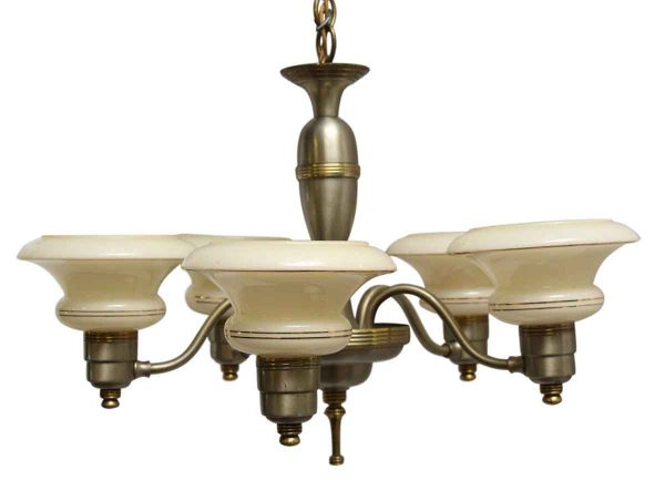 Chandeliers - 1940s 5 Arm Deco Chandelier with Glass Slip Shades