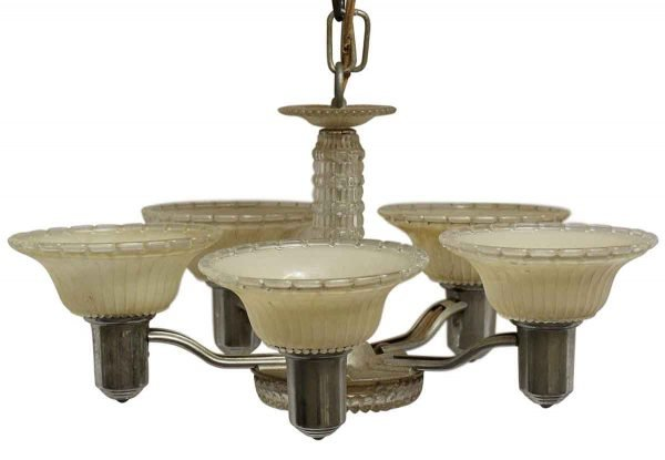 Chandeliers - 1940s Art Deco 5 Light Chandelier with Glass Slip Shades