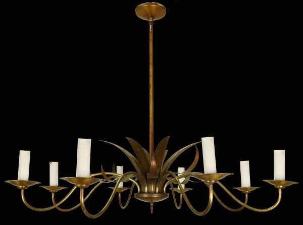 Chandeliers - 1940s Italian Art Deco 8 Arm Wide Chandelier