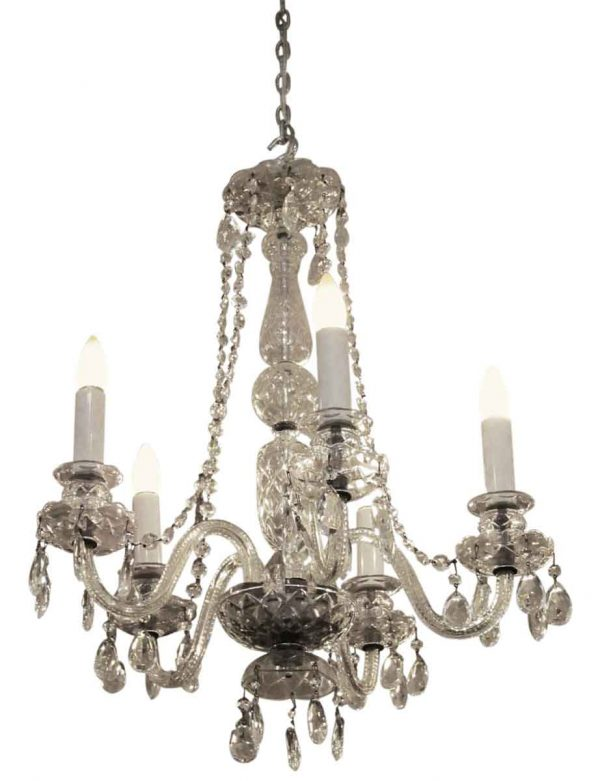 Chandeliers - 1940s Restored Waterford Crystal 5 Light Chandelier
