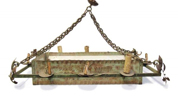 Chandeliers - 1950s French Steel Hanging Box 8 Light Chandelier