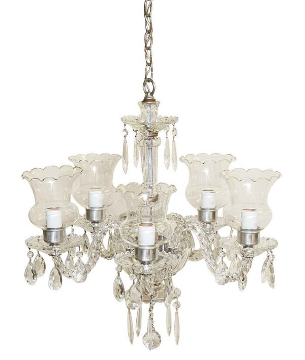 Chandeliers - 1950s Traditional Clear Crystal & Glass Chandelier