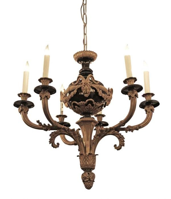 Chandeliers - Antique 1900 French Empire 6 Arm Bronze Chandelier