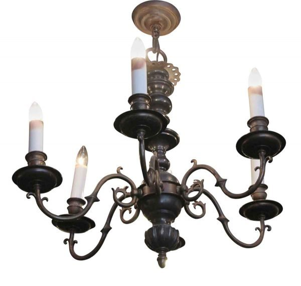 Chandeliers - Antique 6 Arm Classic Williamsburg Bronze Chandelier