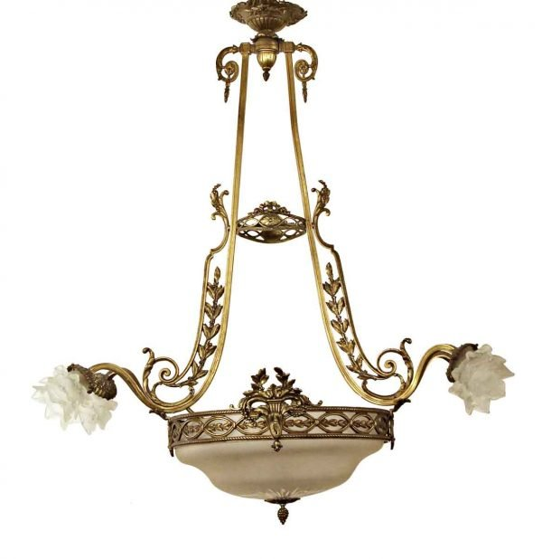 Chandeliers - Antique Bronze Chandelier with 4 Frosted Glass Shades