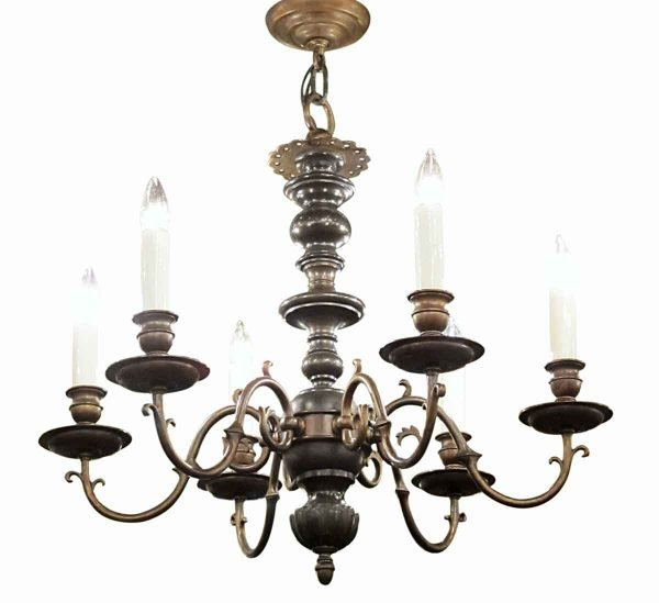Chandeliers - Antique Colonial 6 Light 2 Tone Bronze Chandelier